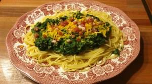 Spaghetti con Spinacci e Prosciutto